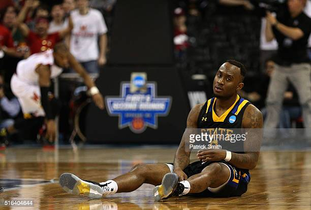 Deondre Parks of the South Dakota State Jackrabbits sits on the floor after the Maryland Terrapins scored during the closing seconds of their 7974...