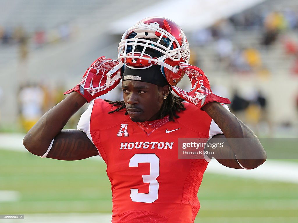 Deontay Greenberry #3 of the Houston Cougars warms up before playing against the Grambling State Tigers on September 6, 2014 at TDECU Stadium in Houston, Texas.