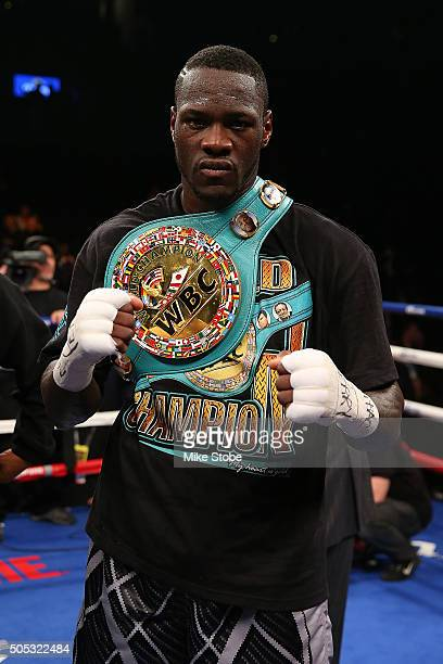 Deontay Wilder celebrates after defeating Artur Szpilka by KO in the 9th round during their WBC Heavyweight Championship bout at Barclays Center on...