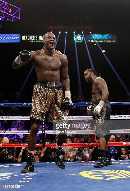 Deontay Wilder celebrates after going 12 rounds with WBC heavyweight champion Bermane Stiverne during their title fight at the MGM Grand Garden Arena...