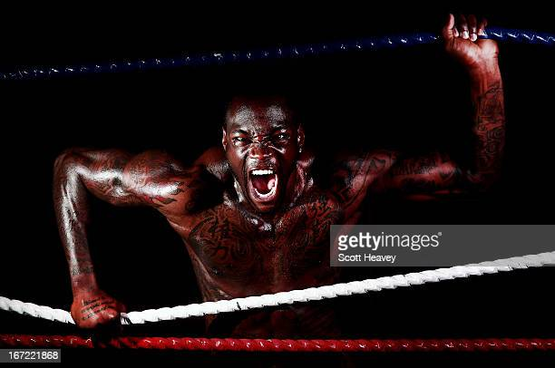 Deontay Wilder poses during a photo shoot at Gloves Gym on April 22 2013 in Bolton England