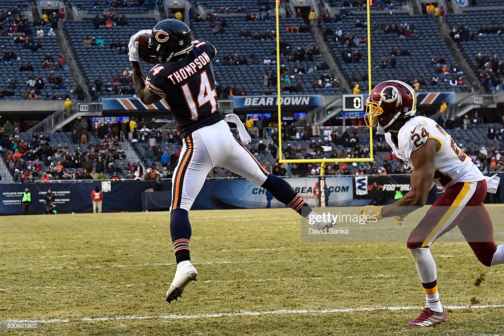 Deonte Thompson #14 of the Chicago Bears catches the football against Josh Norman #24 of the Washington Redskins for a touchdown in the fourth quarter at Soldier Field on December 24, 2016 in Chicago, Illinois. The Washington Redskins defeated the Chicago Bears 41-21.