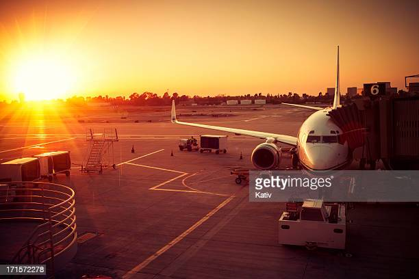 Deparing Airplane in Sunset, Airport