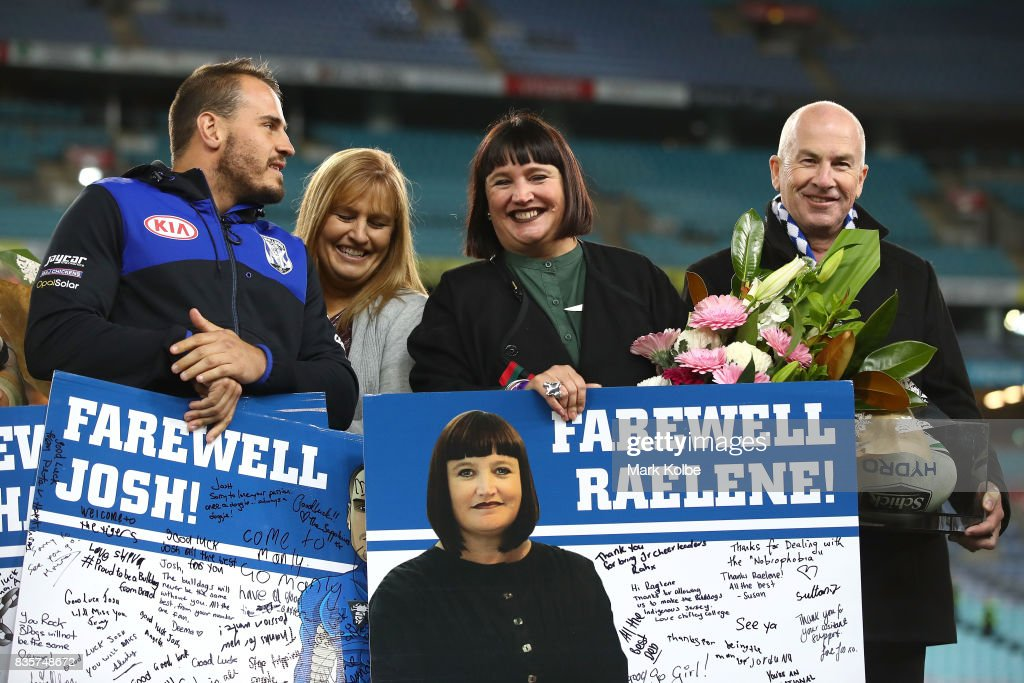 Departing Bulldogs player Josh Reynolds and CEO Raelene Castle stand on stage after a presentation to the players and officials leaving the club at the end of the season after the round 24 NRL match between the Canterbury Bulldogs and the Manly Sea Eagles at ANZ Stadium on August 20, 2017 in Sydney, Australia.