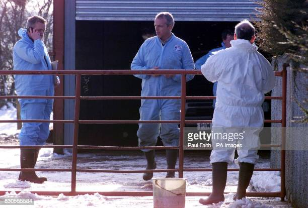 Department of Agriculture officals seal off a farm at Meigh in South Armagh on the border with the Irish Republic A number of sheep that originated...