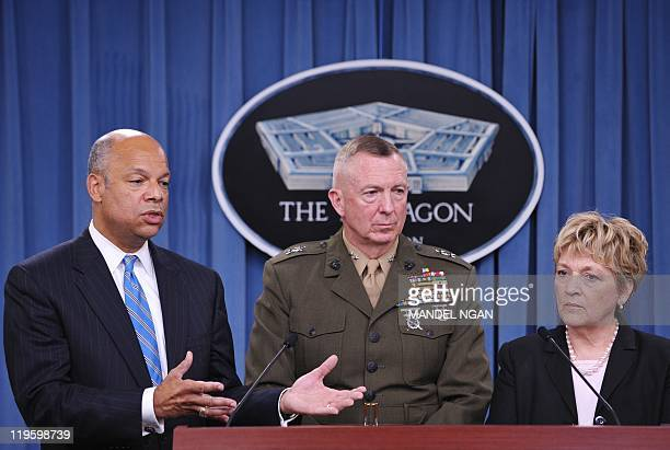 Department of Defense General Counsel speaks as Major General Steven Hummer Chief of Staff Repeat Implementation Team and Deputy Assistant Secretary...