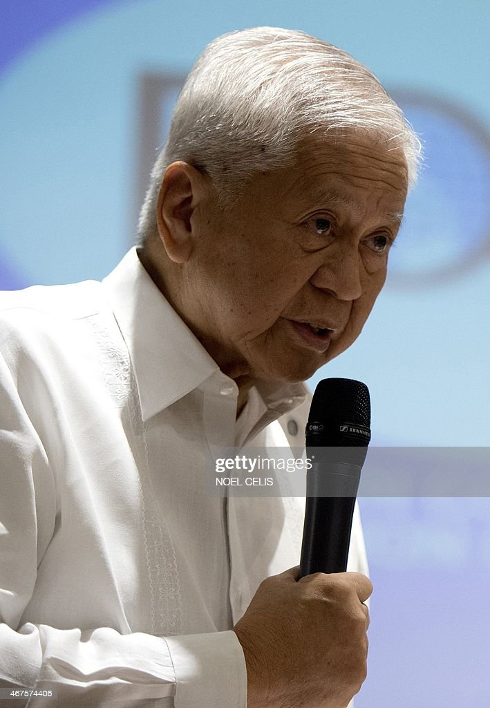 Department of Foreign Affairs (DFA) secretary <a gi-track='captionPersonalityLinkClicked' href=/galleries/search?phrase=Albert+del+Rosario&family=editorial&specificpeople=2704318 ng-click='$event.stopPropagation()'>Albert del Rosario</a> answers questions during the Foreign Correspondents Association of the Philippines (FOCAP) forum in Manila on March 26, 2015. The Philippines accused China on March 26 of seeking to take control of nearly the entire South China Sea with an expansionist agenda dominated by 'massive reclamation' works.