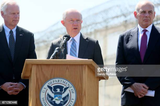 Department of Homeland Security John Kelly and Attorney General Jeff Session speak to the media during a tour of the border and immigrant detention...