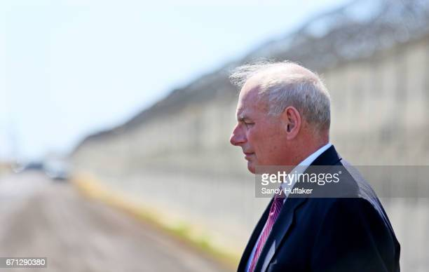 Department of Homeland Security John Kelly prepares to speak to the media during a tour of the border and immigrant detention operations at Brown...