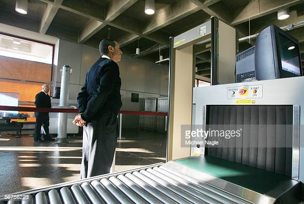 S Department of Homeland Security official stands by weapondetection equipment at the Exchange Place station as the DHS prepares to begin screening...