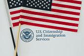 US DHS logo and US flag