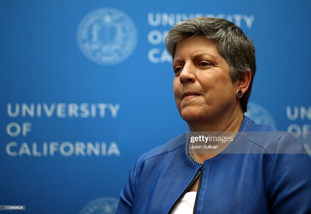 Department of Homeland Security secretary and University of California president designate <a gi-track='captionPersonalityLinkClicked' href=/galleries/search?phrase=Janet+Napolitano&family=editorial&specificpeople=589781 ng-click='$event.stopPropagation()'>Janet Napolitano</a> (C) speaks during a news conference following the University of California Board of Regents meeting on July 18, 2013 in San Francisco, California. The University of California's Board of Regents voted today to confirm <a gi-track='captionPersonalityLinkClicked' href=/galleries/search?phrase=Janet+Napolitano&family=editorial&specificpeople=589781 ng-click='$event.stopPropagation()'>Janet Napolitano</a> to be the next president of the UC system.