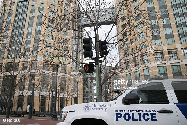 Department of Homeland Security SUV is parked outside the federal building where Noor Salman appeared in court related to charges of abetting Omar...