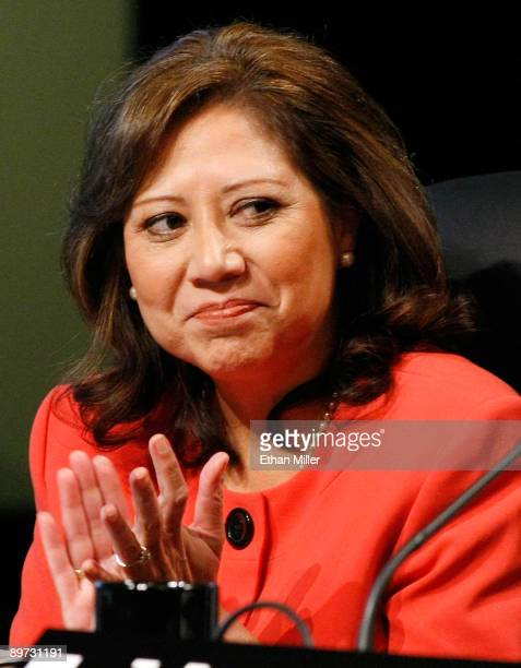 S Department of Labor Secretary Hilda Solis attends the National Clean Energy Summit 20 at the Cox Pavilion at UNLV August 10 2009 in Las Vegas...