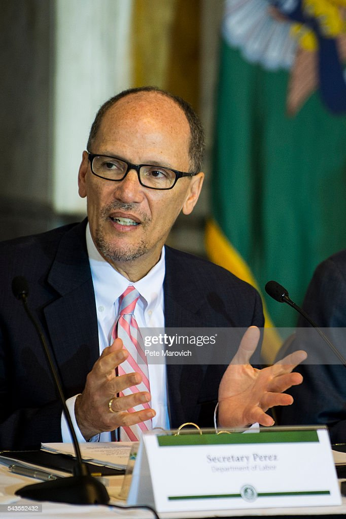 U.S. Department of Labor Secretary Thomas Perez delivers remarks during a public meeting of the Financial Literacy and Education Commission at the United States Treasury on June 29, 2016 in Washington, DC. The agenda focused on financial education and investment advice, as well as the intersection of financial education and legal aid.