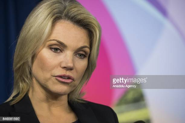 S Department of State Spokesperson Heather Nauert speaks to members of the foreign press during a briefing at the Foreign Press Center in Washington...