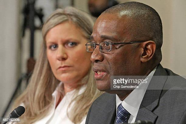 Department of Veterans Affairs employee Kristen Ruell and Veterans Benefits Service Representative Ronald Robinson speak at the House Hearing on...