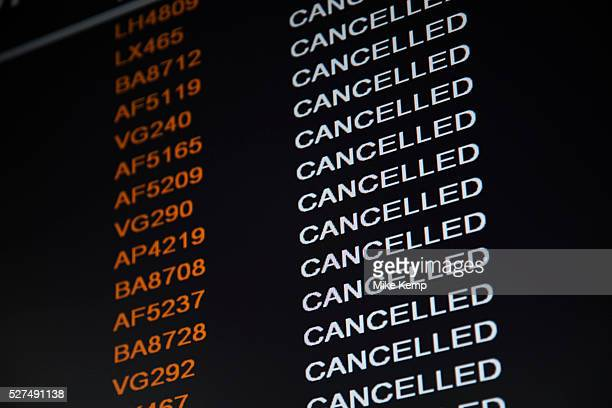 Departure board at City Airport in London shows flight cancellations across the board Due to the volcanic ash cloud high in the atmosphere all air...
