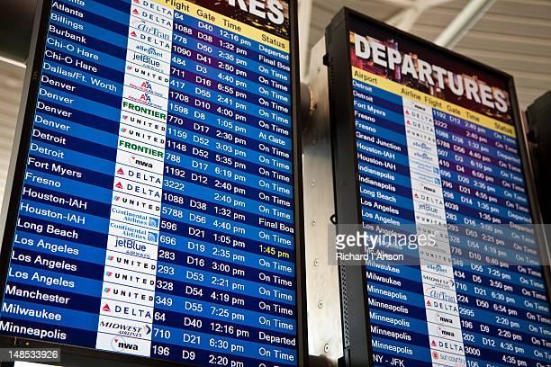 Departure board at Las Vegas airport.