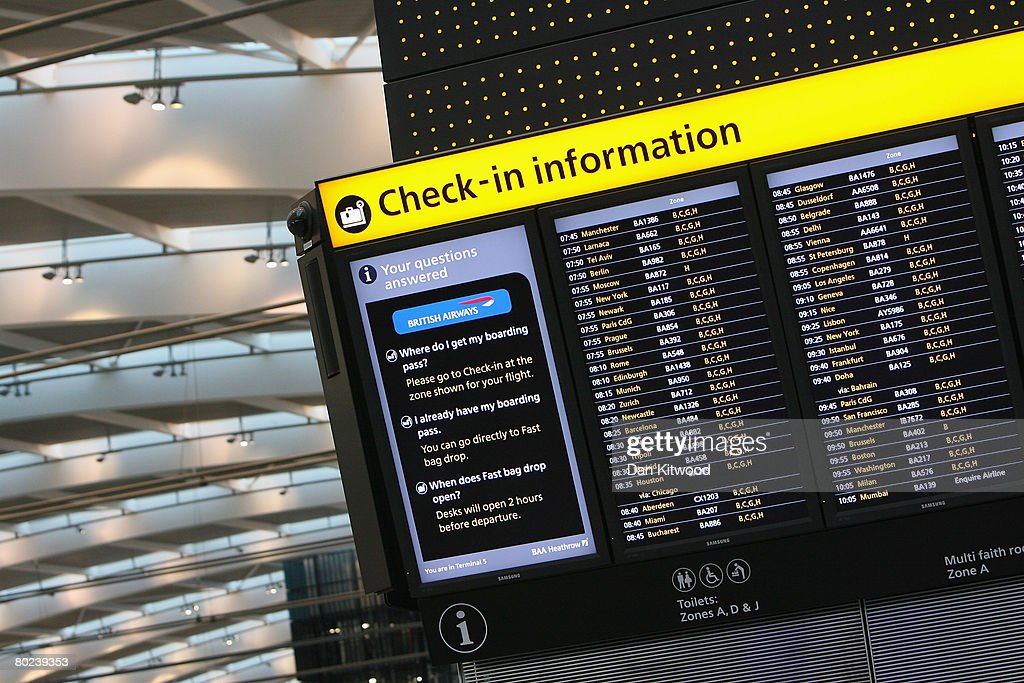 A departure board in the new Terminal 5 at Heathrow Airport, prior to its official opening on March 14, 2008 in London, England.