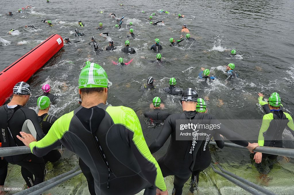 Departure during the Garmin Triathlon de Paris Ile-de-France on May 29, 2016 in Choisy le Roi, France.