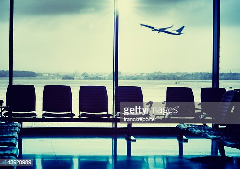 Departure lounge during the airplane take off