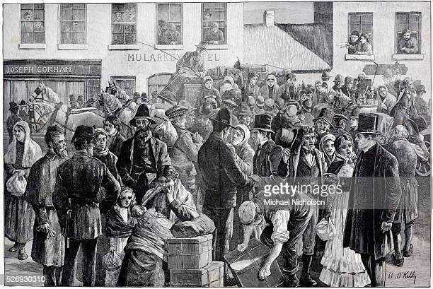 Departure of Irish emigrants for the United States from Clifden County Galway Ireland Engraving by A O'Kelly published in the Illustrated London News...