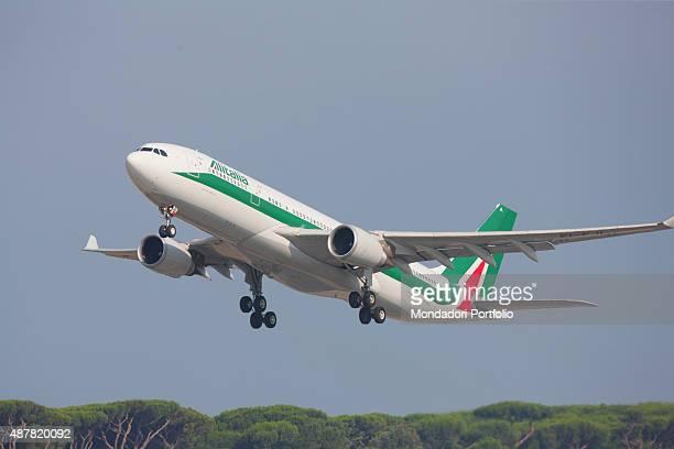 Departure of Pope Francis for his apostolic trip to Ecuador Bolivia and Paraguay Taking off of the Alitalia flight International Airport Leonardo da...