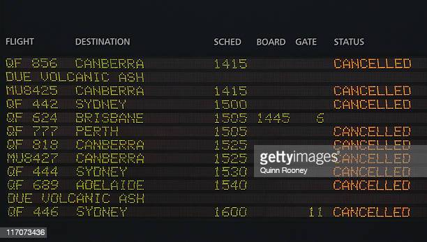 A departure screen is seen as airlines cancel flights due to volcanic ash at Melbourne Domestic Airport on June 21 2011 in Melbourne Australia Air...