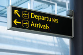 Sign pointing the way to Departures and Arrivals at an airport.