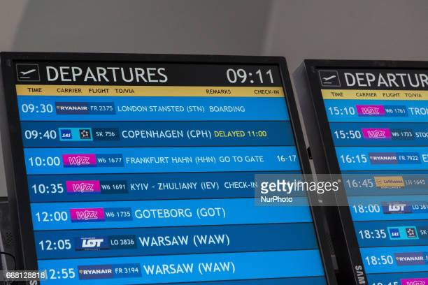 Departures board at Gdansk Lech Walesa Airport in Gdansk Poland on 11 April 2017