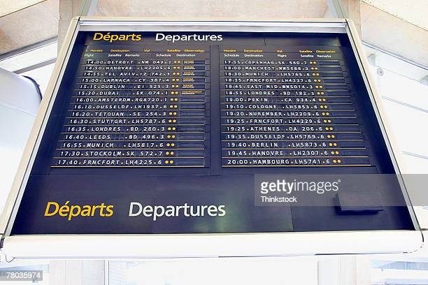 Departures board in airport, Paris