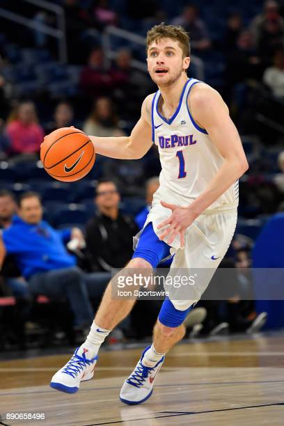 DePaul Blue Demons guard Austin Grandstaff drives with he ball to the basket the ball during the game between the DePaul Blue Demons and the Alabama...