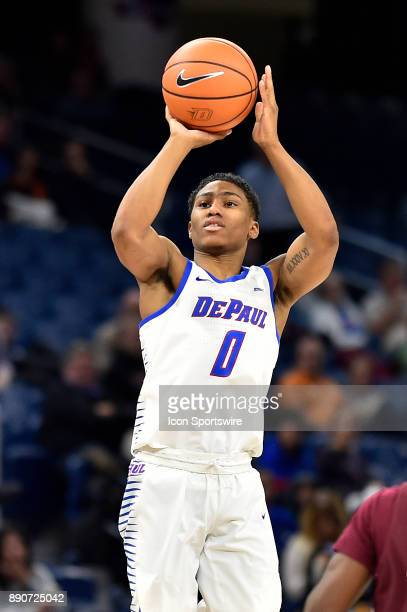 DePaul Blue Demons guard Justin Roberts shoots the ball during the game between the DePaul Blue Demons and the Alabama AM Bulldogs on December 11...