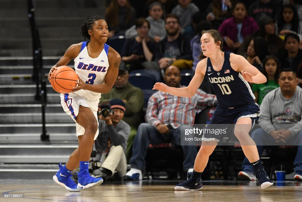 DePaul Blue Demons guard Vinisha Sherrod (3) controls the ball against Connecticut Huskies guard Molly Bent (10) during a game between the Connecticut Huskies and the DePaul Blue Demons on December 8, 2017, at the Wintrust Arena in Chicago, IL. Connecticut won 101-69.