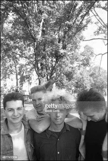 Depeche Mode grouo portrait Shepherd's Bush London 2 September 1982 Left to right Dave Gahan Andrew Fletcher Martin Gore Alan Wilder