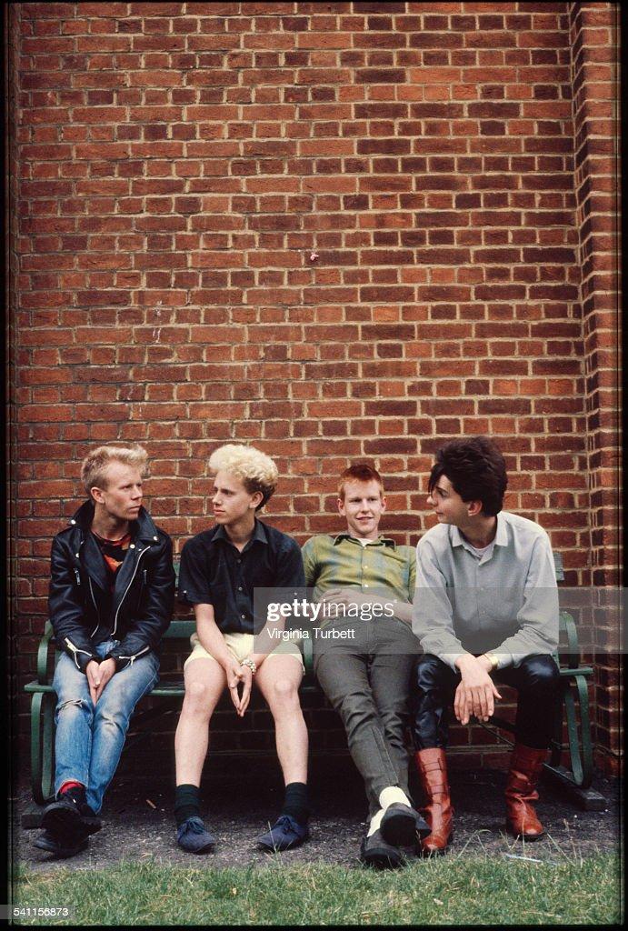 Depeche Mode in the grounds of Blackwing Studios London 17 June 1981 LR Vince Clark Martin Gore Andy Fletcher Dave Gahan