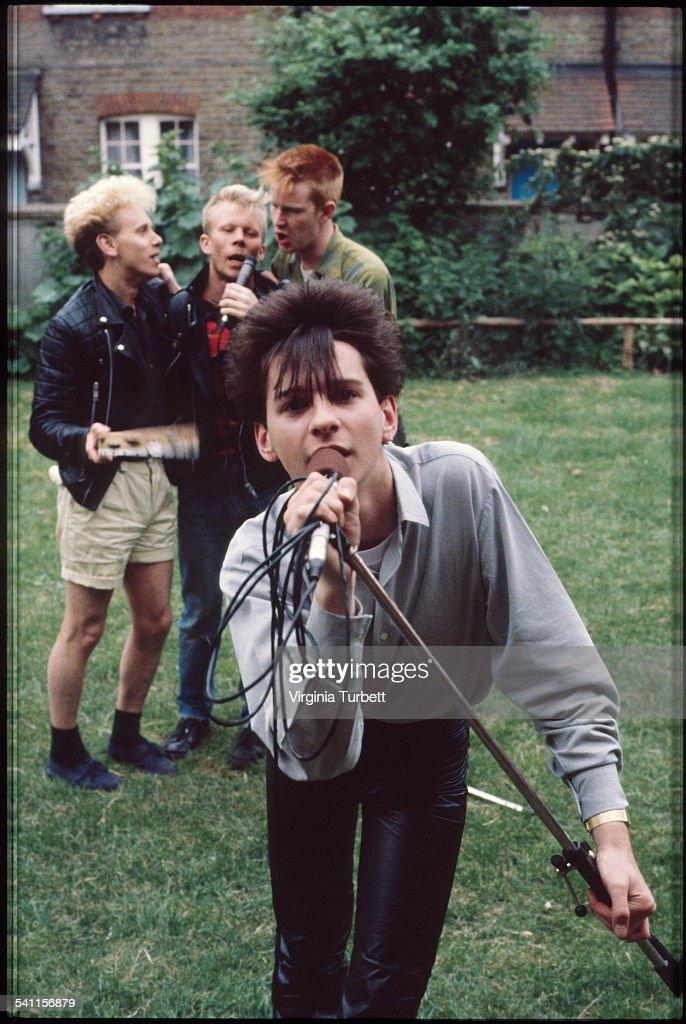 Depeche Mode in the grounds of Blackwing Studios London 17 June 1981 LR Martin Gore Vince Clark Andy Fletcher Dave Gahan