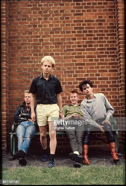Depeche Mode in the grounds of Blackwing Studios London 17 June 1981 LR Vince Clark Martin Gore Andy Fletcher Dave Gahan
