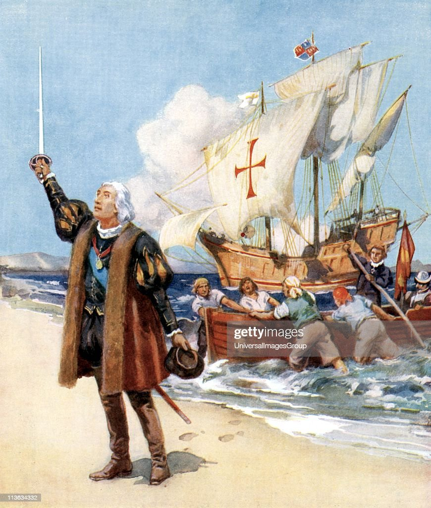A depiction of Genoese navigator <a gi-track='captionPersonalityLinkClicked' href=/galleries/search?phrase=Christopher+Columbus+-+Explorer&family=editorial&specificpeople=78936 ng-click='$event.stopPropagation()'>Christopher Columbus</a> (1451 - 1506) claiming possession of the New World, 1492.