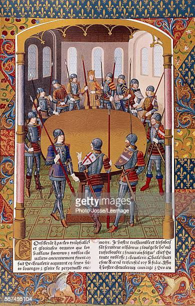 Depiction of King Arthur and the Knights of the Round Table Miniature from a manuscript BN Paris France