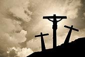 Crucifixion of Jesus Christ in Golgotha or Calvary.