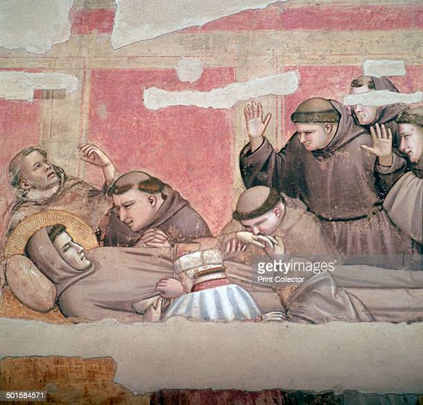 Depiction of the death of St Francis of Assisi at the Church of Santa Croce in Florence 14th century