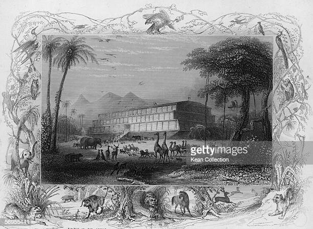 Depiction of the entry of animals onto the ship known as Noah's Ark as described in the Bible passage Genesis X in a 19th Century engraving by an...