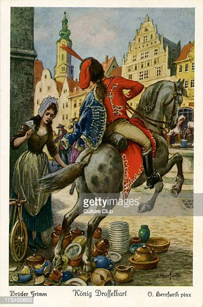 Depicts a drunk hussar destroying the princess's goods forcing her to work as a kitchenmaid in a nearby castle Caption on back reads 'Als die...