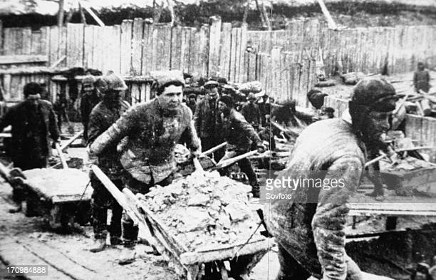 Deported peasants and political prisoners used as slave labor to build the white sea baltic canal in northern european russia ussr 1932