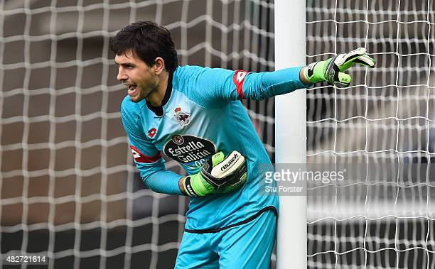 Deportiva goalkeeper German Lux in action during the Pre season friendly match between Swansea City and Deportivo La Coruna at Liberty Stadium on...