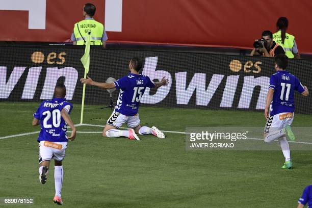 Deportivo Alaves' French defender Theo Hernandez celebrates after scoring the equalizer during the Spanish Copa del Rey final football match FC...