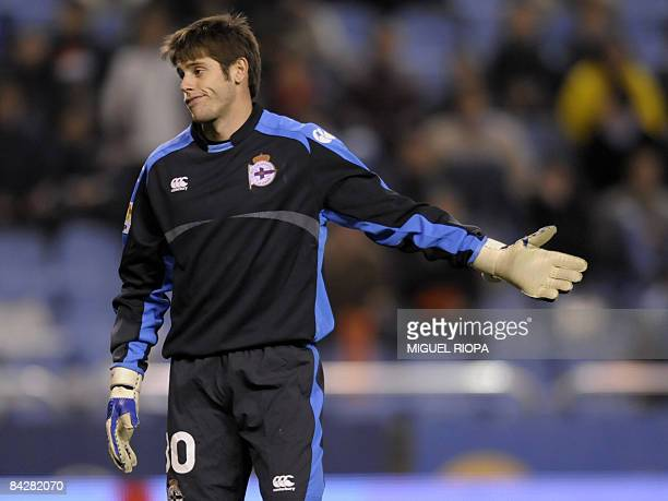 Deportivo Coruna´s goalkeeper Fabricio Agosto reacts during their King´s Cup 2nd leg football match against Sevilla FC at the Riazor Stadium in...