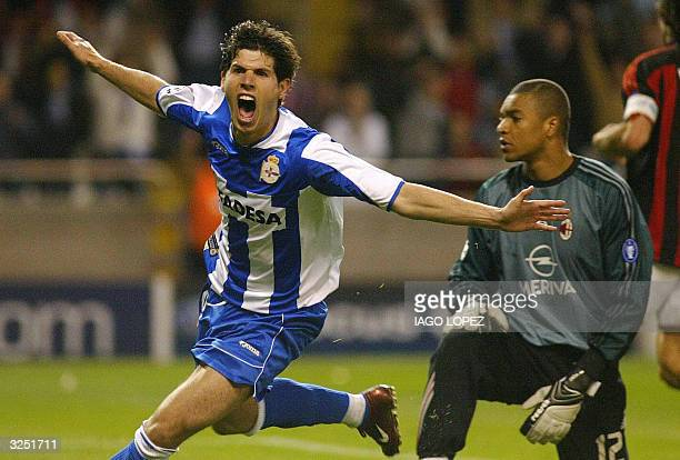 Deportivo Coruna's player Albert Luque celebrates after scoring the third goal against AC Milan during the European Champions League quarterfinal...
